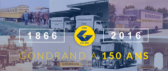 Visuel : 150 ans de TRANSPORT GONDRAND France et international